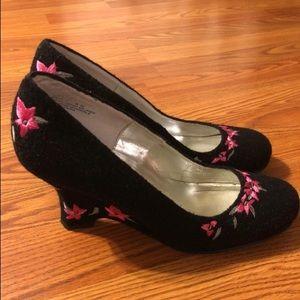 Velvet floral heels